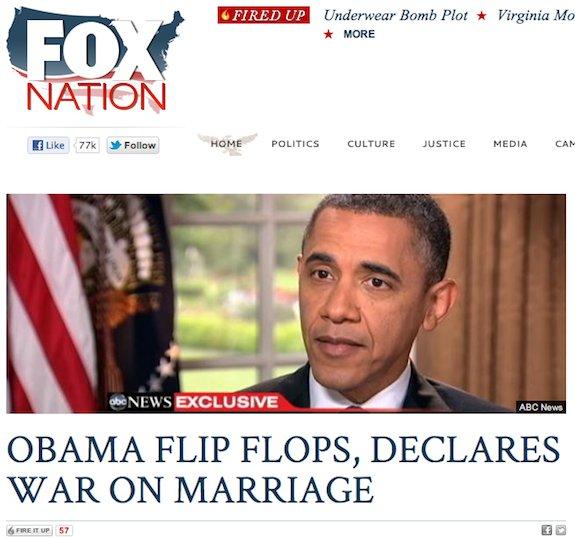 Obamas views on same sex marriage